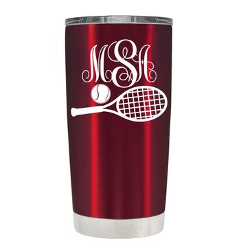 Monogrammed Tennis Ball and Racket on Translucent Red 20 oz Tumbler Cup