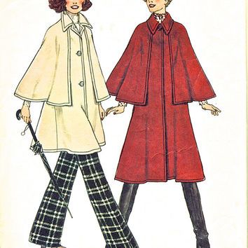 70's Misses' Unlined Coats In Two Lengths - Women's Cape Pattern - Vintage Sewing Pattern - Simplicity 7163 - Bust 34 -36""