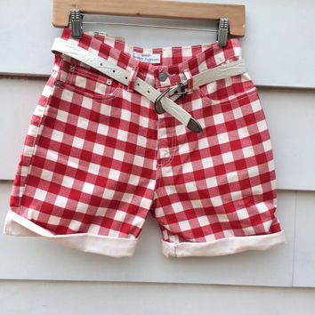 Vintage 90s GUESS red GINGHAM Denim Jean Shorts deadstock USA never worn Daisy Dukes Nos