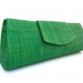 Emerald  Clutch Purse Green Raffia Bag Vintage Inspired Vegan Purse Fair Trade Brazilian Natural Palm Fiber SEL-002