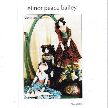 Victorian Doll & Clothes Pattern, Elinor Peace Bailey, Little Old Lady Originals, 28 In., From 1982, FACTORY FOLDED, UNCUT, Vintage Pattern