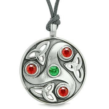 Goddess Celtic Triquetra Knot Protection AmuletCircle Green Red Crystals Pendant Necklace