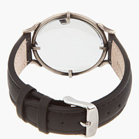 Ann Demeulemeester Black Leather Magnifying Glass Mock-watch for men | SSENSE