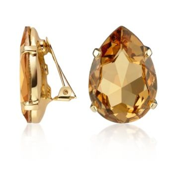 AZ Collection Designer Earrings Amber Tear-Drop Clip-On Earrings