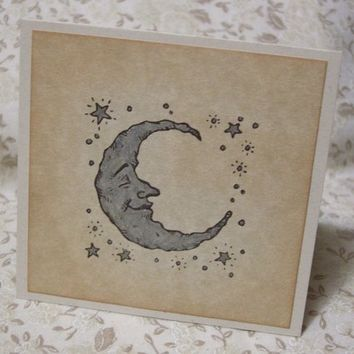 SILVERY MOON thank you notecards- with silver stars, vintage style, shabby chic style, ephemera, celestial, baby shower - set of 6
