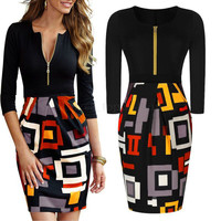 Women Geometry Business Office Bodycon Slim Cocktail Evening Pencil Formal Dress