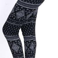 Ethnic Print Fleece Leggings