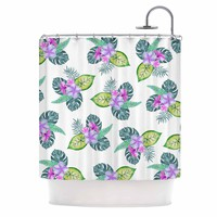 "Sylvia Cook ""Tropical Flowers"" Green Pink Floral Nature Watercolor Digital Shower Curtain"