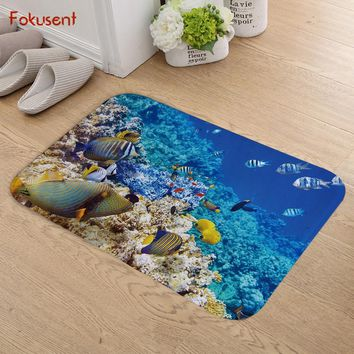 Autumn Fall welcome door mat doormat FOKUSENT Blue Ocean Series Pretty Colored Coral Reef Fish Dolphin Flannel  Factory Custom Made Floor Mat Carpets AT_76_7