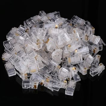 100pcs/pack Transparent Cat6a 8P8C RJ45 Modular Plug Cable Heads for Network Internet Connector Gold Plating