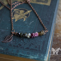 Tourmaline & Antiqued Copper Leaf Necklace