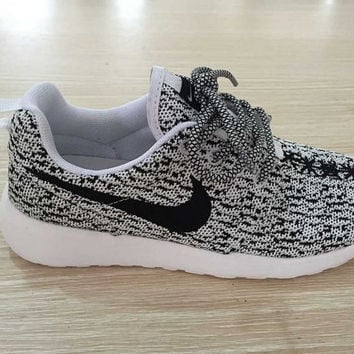 Custom Nike roshe one yeezy boost 350 athletic womens run sneakers light/gray color white sole as is or blinged with swarovski crystals