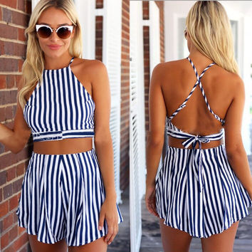 Blue Stripe Halter Crop Top and Shorts Set