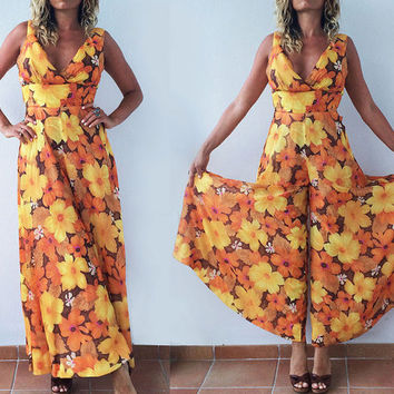 Vintage 1960's Flower Power Palazzo Pantsuit || Floral Sleeveless One Piece Onesuit Boho Hippie Disco Playsuit || Size Extra Small XS S