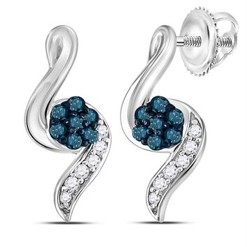 Sterling Silver Women's Round Blue Color Enhanced Diamond Cluster Stud Earrings 1-5 Cttw - FREE Shipping (USA/CAN)