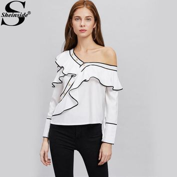 Sheinside Contrast Ruffle Blouse Asymmetrical Cute Tops 2017 Women White Layered Summer Tops Cold Shoulder Long Sleeve Blouse