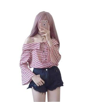 Women Blouse Summer shirt kawaii plaid shirt horn sleeve strapless strap Vadim Harajuku casual Blouses Plus Size Ladies Clothing