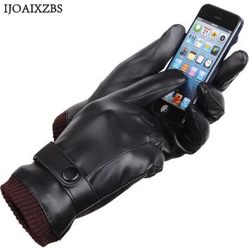 Hot Sale Men Women Leather Gloves Touch Screen Men Winter Outdoor Warm Fur Thickening Thermal  Gloves