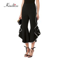 Kinikiss Women Pants Black Mid Waisted Falbala Bellbottoms 2017 New Plain Flared Ankle Length Female Fashion Girls Casual Pants