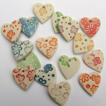 Porcelain Heart Shape Pendants - jewellery making - scrapbooking