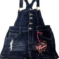 Girl's Overall Shorts with Crochet Details, Denim