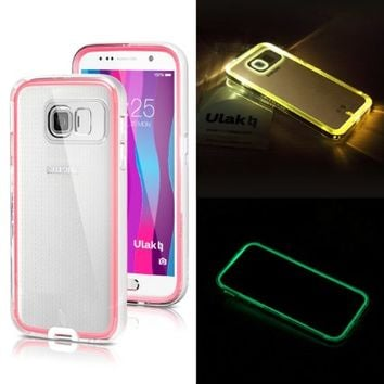 Galaxy S6 Case,ULAK® [Lumenair Series] LED Case Samsung Galaxy S6 Incoming Call Flash Slim Fit Dual Layer Bumper Protective Cover (White/Water Red)