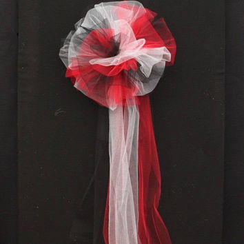 Red Black White Tulle Wedding Bows