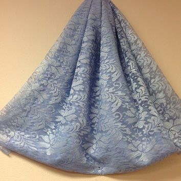 Periwinkle Blue Lace fabric by the yard, Blue  lace, Shimering Lace, Wedding Dress Fabric, Lace Curtains Fabric, Bridesmaids fabric lace