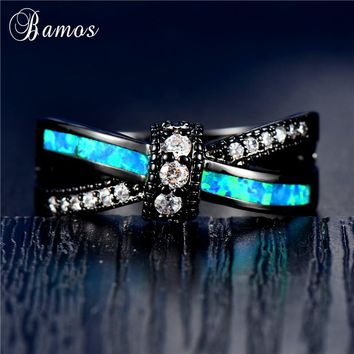 Bamos Blue/White Fire Opal Cross Ring Mutilcolor Knot Ring For Women Men Punk Black Gold Filled Crystal Jewelry Couple Best Gift