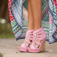 Peep Toe Lace Wedges Pink CLEARANCE