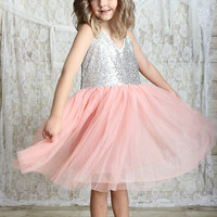Silver & Blush Glitter Spaghetti Strap Sparkle Dress