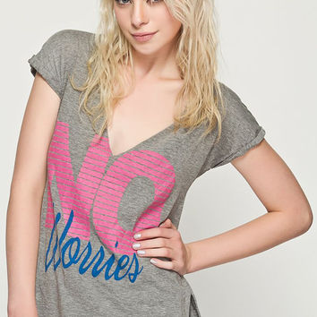 "Grey ""NO Worries"" Print V-Neck Short-Sleeve Tank"