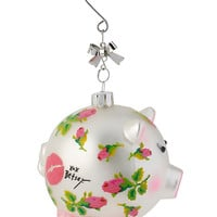 PINK ROSES PIG ORNAMENT SILVER