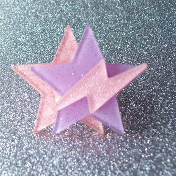 Space Pop - Jem Inspired Glitter Star and Lightning Ring