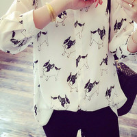 Pug Puppy Long White Chiffon Blouse