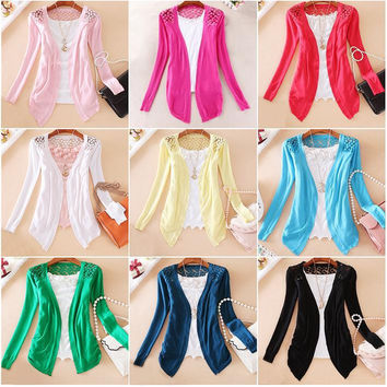 Women Candy Color Irregular Hem Long Sleeve Slim Thin Lace Hollow Out jacket Women Knitted Cardigan Sweater Tops * FREE SHIPPING *