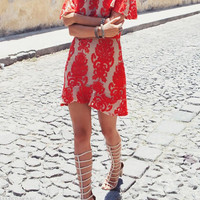 Red Floral Lace Embroidery Backless Mini Dress