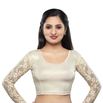 Light Gold Shimmer Stretchable Saree Blouse with Long Sleeves  SNT-A-19-SL