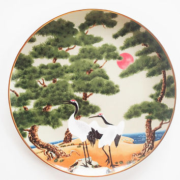 Franklin Mint Flowers and Birds of the Orient  White Crane and The Pine Hand Painted Decorator Plate, 1979