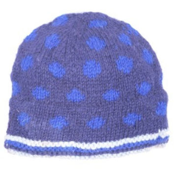 Polka Dot Wool Cap, Fleece Lined, Hand Crafted. Katmandu Made