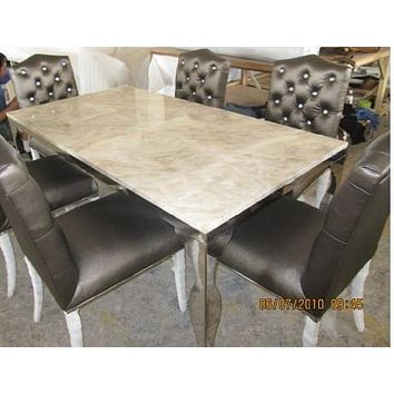 Newest Dining Upholstery  With Button Tufted Leather Chairs