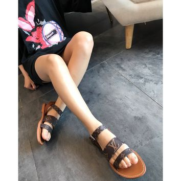 DCCK 1648 Louis Vuitton LV 2019 Classic Print Logo Mini Leather Fashion Flat sandals Brown