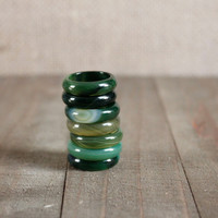 AGATE BAND RING/// Olive Green Agate Band Ring/ Olive Green Natural Stone Ring/ Gemstone Semi Precious Stone Band Ring