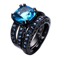 Romantic Aquamarine Black Gold Filled Zircon Stone Double Rings  Jewelry Wedding Promise Ring For Couples