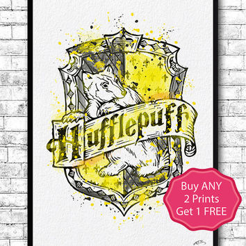 Hufflepuff Crest 2 Watercolor Print Harry Potter Fine Art Print Nursery Art Home Decor Wizard Nursery Kids Room Gift Hufflepuff Crest Poster