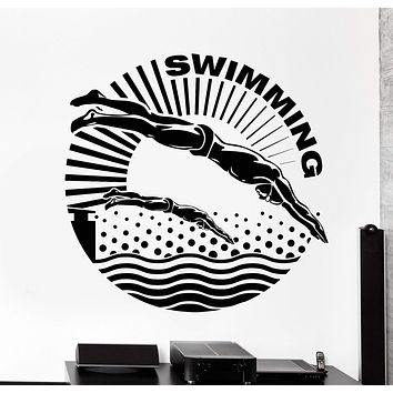 Vinyl Wall Decal Swimmer Water Sport Swimming Pool Stickers Unique Gift (829ig)