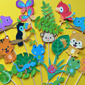 Rainforest animals cupcake toppers, forest animal toppers, animal toppers, rainforest animals cake topper, frog, monkey, bugs, toucan, snake