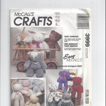 McCall's 3999 Pattern for Stuffed Animals Including Bear, Rabbit, Cat, and Dog, From 1988, Easy McCall's - Pamela Crerand Designs