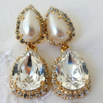 Bridal earrings, Crystal and pearl Chandelier Rhinestone earrings, Dangle earrings, Drop earrings, Weddings, Bridesmaids earrings, vintage