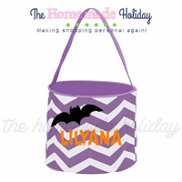 Personalized Halloween trick or treat bag- Bat halloween trick or treat bucket, quaterfoil bag, chevron bag, polka dot bag